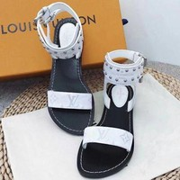 【Louis Vuitton】LV One word with flat bottom high boots Sandals Coffee Color Slippers B-ALS-XZ White