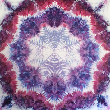 Trippy Mandala Tie Dye Tapestry or wall hanging in purples