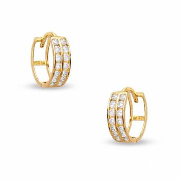 Cubic Zirconia Two Row 11mm Huggie Earrings in 10K Gold|Piercing Pagoda