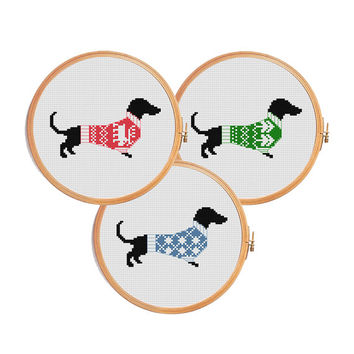 Christmas dachshund cross stitch pattern - dog modern cross stitch pattern - winter dachshund ugly sweater decor gif animal 3 in 1