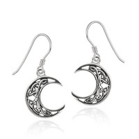Sterling Silver Celtic Knot Crescent Moon French Wire Earrings