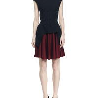 Colorblock Cable-Knit Layered Dress, Size: