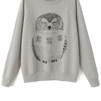 Long Sleeve Owl Pattern Sweatshirt