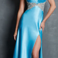 Night Moves by Allure 2014 Prom Dresses - Turquoise Charmeuse & Beaded Prom Gown