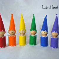 Rainbow Gnomes ~ Rainbow Peg Dolls ~ Waldorf Inspired ~ Set of Six ~ Red, Orange, Yellow, Green, Blue, Purple ~ Handmade Toy ~ Pretend Play