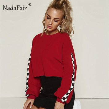 Nadafair o neck plaid sleeve patchwork hoodies women black red casual loose sweatshirts autumn winter long sleeve sexy crop tops