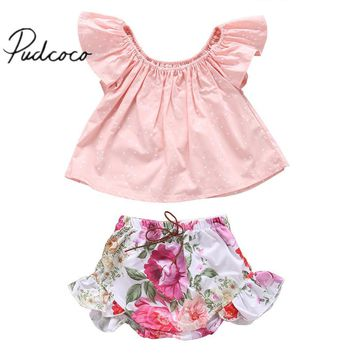 2pcs Newborn Infant Baby Girls Summer Outfits Clothes T-shirt Tops Floral Pants