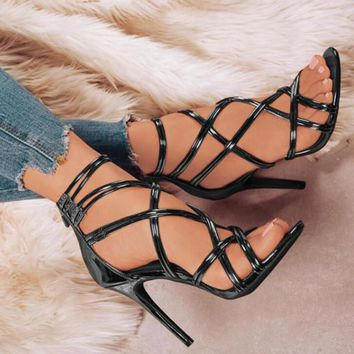 shiny woman summer cross-tied strap gladiator sandals sapato feminino ladies women pumps shoes Zapatos Mujer high heels F180071