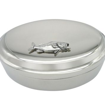 Bass Fish Pendant Oval Trinket Jewelry Box