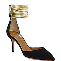 Aquazzura - Hello Lover Suede & Metallic Leather D'Orsay Pumps - Saks Fifth Avenue Mobile