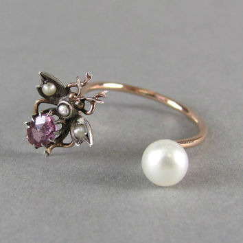 PIERCING cuff ring, fly ring, insect ring, bug, bee ring, antique engagement ring, stacking ring, paste & pearl ring, gold statement ring.