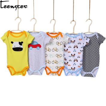 Teenster 5pcs/lot cute baby bodysuit little girl boy clothes vetement enfant fille cheap newborn infant clothing twins body
