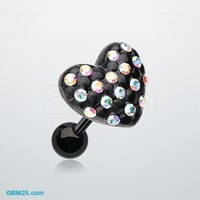 Blackline Heart Multi-Gem Cartilage Earring