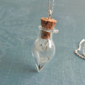 Dandelion vial pendant, glass bottle necklace, make a wish, dandelion jewelry, eco friendly pendant, bridesmaids party gift, sterling silver