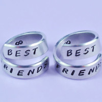 BEST FRIENDS - Spiral Rings Set, Hand Stamped, Shiny Aluminum, Friendship, BFF Gift, Handwritten Font