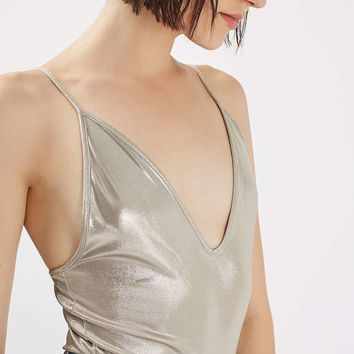 TALL Lame Metallic Body | Topshop