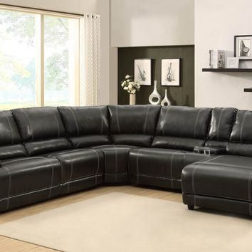 A.M.B. Furniture & Design :: Living room furniture :: Sofas and Sets :: Leather sectionals :: 5 pc Cale collection black bonded leather match upholstered reclining sectional sofa set with chaise