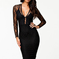 Women Black Lacy Flirt Evening Prom Midi Dress