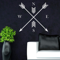 Arrows Compass North East South West Wall Decals- Arrow Tribal Wall Decor Minimalist Art For Office Bedroom Decor C036