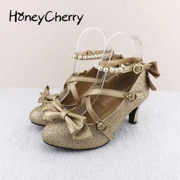 Plum small liner genuine leather cross-strap pumps Princess bow lolita shoes gold silv