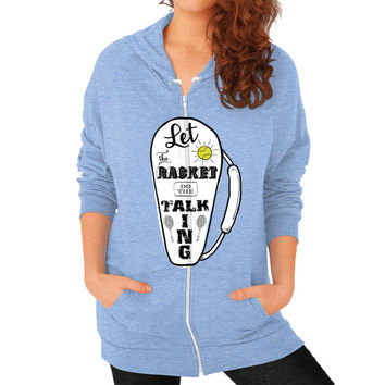 Let the Racket Do the Talking for Tennis/Badminton Zip Hoodie (on woman)