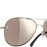 Light gold & brown Pilot Summer Chanel Sunglasses with Brown Mirror Lenses