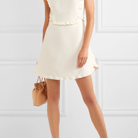 Miu Miu - Embellished ruffled wool and silk-blend mini dress