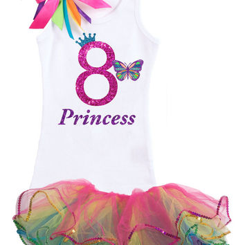 Rainbow Butterfly 8th Birthday Outfit, Rainbow Tutu butterfly, Butterfly Birthday, Monarch Butterfly, Butterfly Tutu, Rainbow tutu outfit, 8