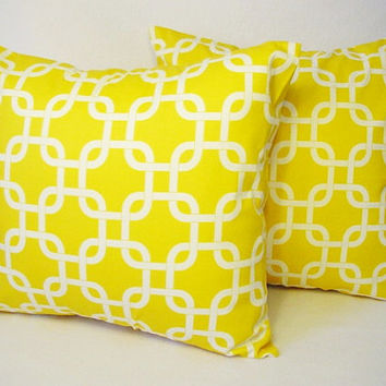 Yellow Pillow Covers in Chainlink Print - 18 x18 inches Decorative Pillows Cushion Cover Accent Pillow