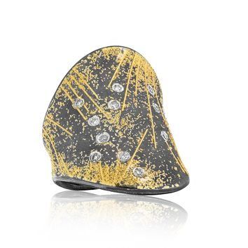 Atelier Zobel One of a Kind White Diamond Oxidized Silver Pure Gold Ring