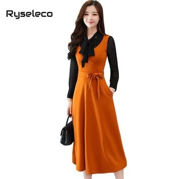 Ryseleco Women Spring Fashion Elegant Slim Hit Color Patches Bow Tie Long Sleeve Casual Flare Midi Dresses With Pockets Vestidos