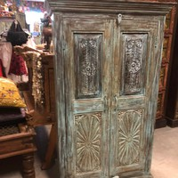 2 Door Armoire Cabinet Chakra Carving Indian Antique Storage