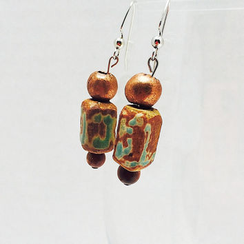 Pottery earrings, dangle earrings, copper and green, statement jewelry, precious metal jewelry, verdigris, beaded earrings, boho,