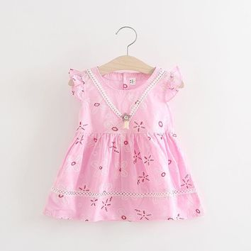 Baby Girl Summer A-line Dress With Cute Pink Flowers.    In Sizes 18Mo, 24Mo and 3T.    Available in Pink, Pale Purple and Green.    ***FREE SHIPPING***
