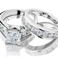 Princess Cut Diamond Engagement Ring and Wedding Band Set 1 Carat (ctw) in 10K White Gold, Size 7