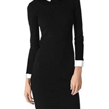 Womens Formal Black Peter Pan Collar Wednesday Addams Pencil Business Dress
