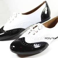 New Womens Patent Oxfords Lace Up Classic Enamel Ballet Flat Loafer Shoes