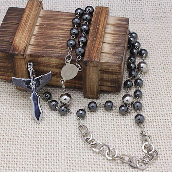 Classic new arrival hematite semi-pricious stainless steel cross rosary necklaces high quality fashion men jewelry free shipping