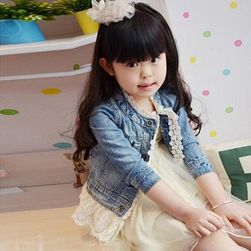 Newest Girls Kids Lace Cowboy Jacket Denim Top Button Children's Jean Coat Outwear 2-7Y