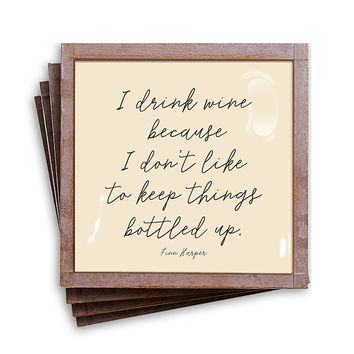 I Drink Wine Because I Don't Like Copper & Glass Coasters, Set of 4