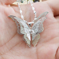 New hot jewelry silver hollow tip butterfly necklace pendant