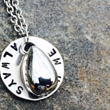"Hand Stamped Stainless Steel Cremation ""Teardrop"" Urn Necklace Jewelry"