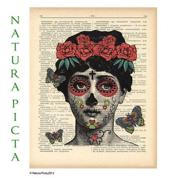 Tattooed lady mexican skull woman Fornasetti tribute dictionary print - on Upcycled Vintage Dictionary page - by NATURA PICTA