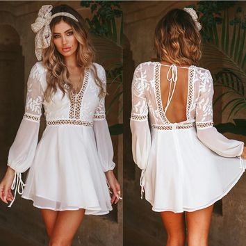New Fashion Women Casual Deep V-Neck Long Sleeve Lace Trim Short Mini Dress Bandage Backless White Angel Amazing Dress Summer