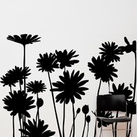 Large Daisies Flowers Wall Decal. #AC141