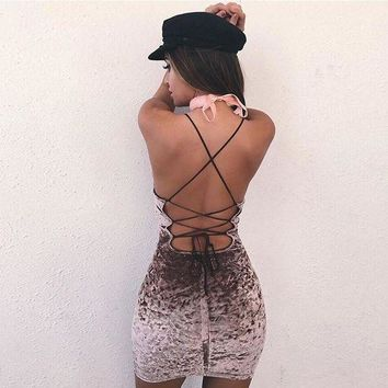 ac NOVQ2A Butterfly Velvet Spaghetti Strap Backless Summer One Piece Dress