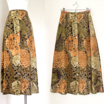 Vintage 80s 90s Leopard Print High Waist Full Maxi Skirt - Women's Orange Black Brown African Animal Print Long Flowy Skirt - Size Small