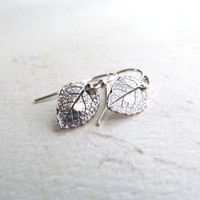 Tiny Leaf Earrings - Sterling Silver Earrings . Everyday Dainty Modern Jewelry