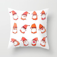 Happy Little Santas Throw Pillow by Anna-Maren Zehnter