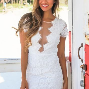 White Lace Short Dress with Mesh Detail